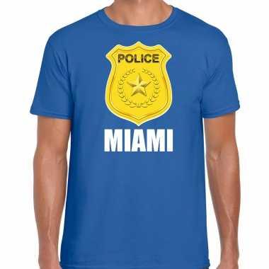 Police / politie embleem miami verkleed t shirt blauw voor heren