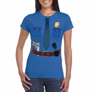 Politie uniform kostuum t shirt blauw voor dames