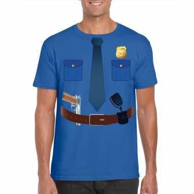 Politie uniform kostuum t shirt blauw voor heren