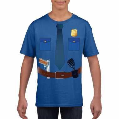 Politie uniform kostuum t shirt blauw voor kinderen
