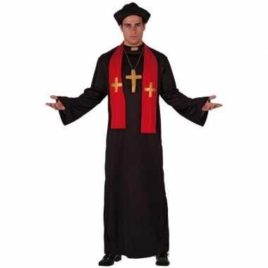Priester kostuums zwart met rood