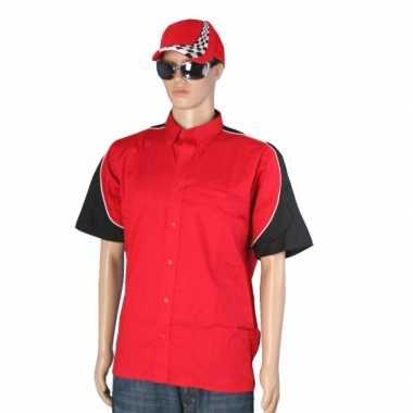 Race shirt rood met race cap maat l