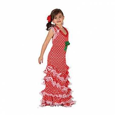 Rode lange kinderjurk met witte stippen