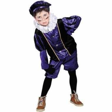 Roetveeg pieten kostuum paars/zwart voor kinderen
