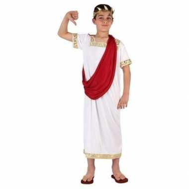 Romeinse toga verkleed kostuum wit/rood voor jongens