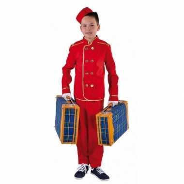 Rood hotelbediende kostuum voor kinderen