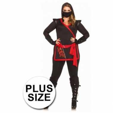 Rood met zwart ninja kostuum voor dames
