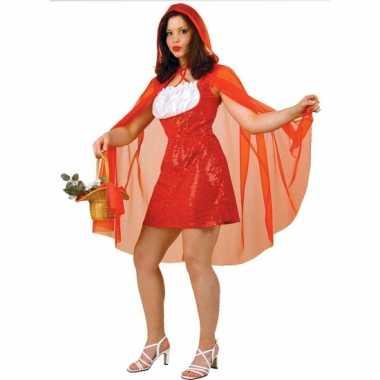 Roodkapje jurk voor dames met rode pailletten en cape