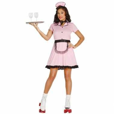 Roze serveerster kostuum