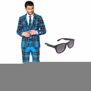Schotse print heren kostuum maat 54 (xxl) met gratis zonnebril