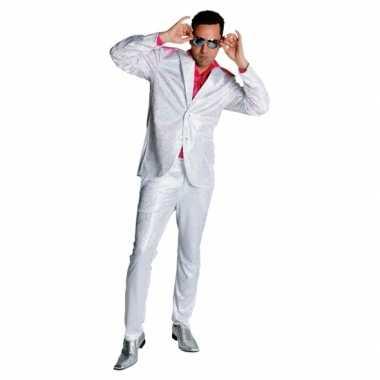 Seventies glitter kostuum in het wit