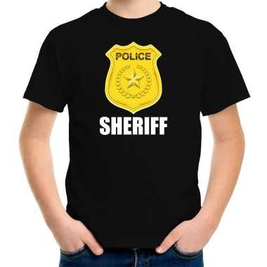 Sheriff police / politie embleem t shirt zwart voor kinderen