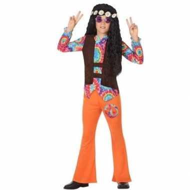 Sixties/hippie verkleed kostuum oranje voor jongens