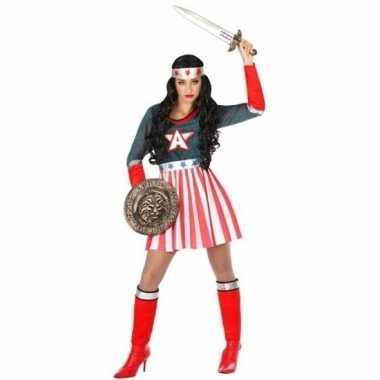 Superheld amerikaanse kapitein verkleed kostuum/kostuum voor dames
