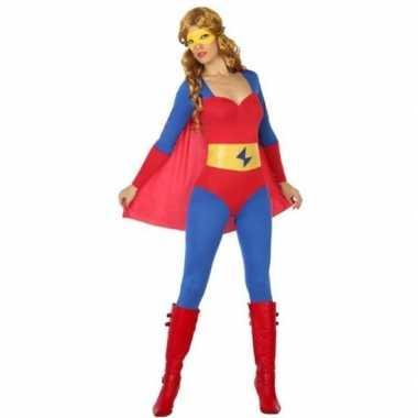 Superheld verkleed kostuum/kostuum blauw/rood voor dames