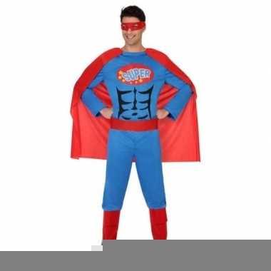 Superheld verkleed kostuum/kostuum blauw/rood voor heren