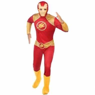 Superheld verkleed kostuum/kostuum rood/goud voor heren