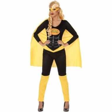 Superheld verkleed kostuum/kostuum zwart/geel voor dames