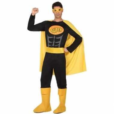 Superheld verkleed kostuum/kostuum zwart/geel voor heren