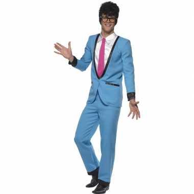 Toppers jaren 50/fifties blauwe tuxedo verkleed kostuum voor heren