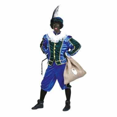 Voordelig roetveeg pieten kostuum blauw/groen unisex