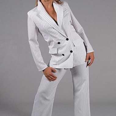 Vrouwen gangster kostuum wit
