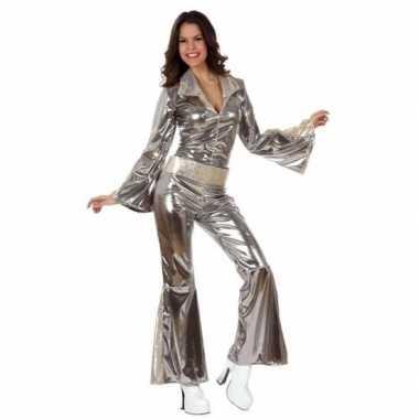 Zilveren dames disco kostuumjes kostuums