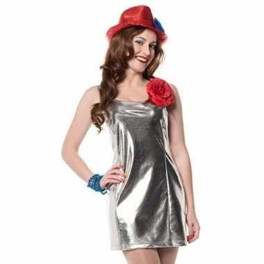 Zilveren disco jurkje van stretch