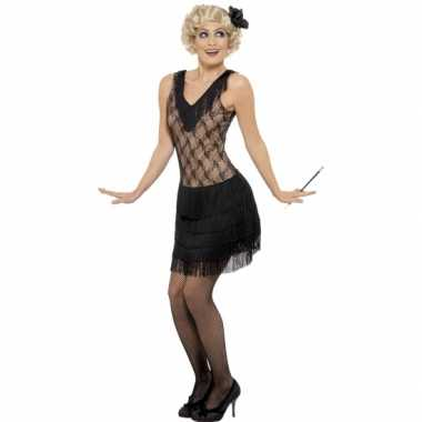 Zwart/beige flapper jurkje verkleed kostuum voor dames