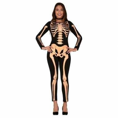 Zwart/oranje skelet verkleed kostuum voor dames