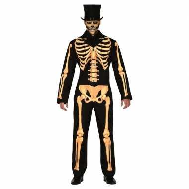 Zwart/oranje skelet verkleed kostuum voor heren