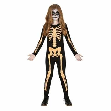 Zwart/oranje skelet verkleedkostuum voor kinderen kostuum