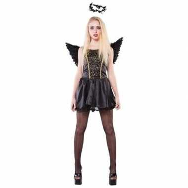 Zwarte engel dames kostuum