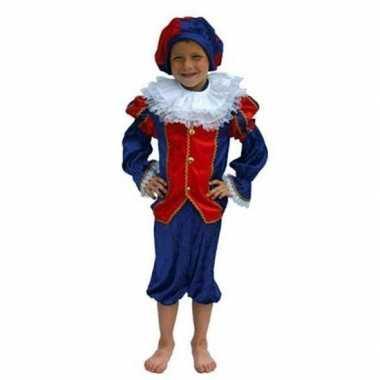 Zwarte piet kostuum kind rood/blauw