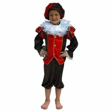 Zwarte piet kostuum kind rood/zwart