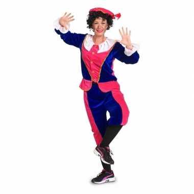 Zwarte piet kostuum voor dames roze / blauw