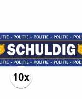 10 x schuldig stickers voor politie agent kostuum