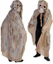 Beige doodshoofd spook kostuum
