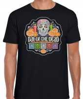 Day of the dead dag van de doden halloween verkleed t shirt kostuum zwart voor heren
