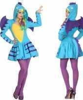 Dierenkostuum blauwe draak verkleed kostuum jurk voor dames