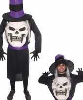 Halloween doodskop halloween met hoed kostuum voor heren
