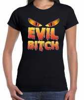 Halloween evil bitch verkleed t-shirt zwart voor dames