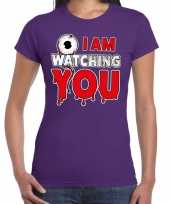 Halloween i am watching you verkleed t shirt paars voor dames