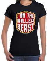 Halloween killer beast verkleed t-shirt zwart voor dames