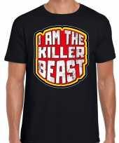 Halloween killer beast verkleed t-shirt zwart voor heren