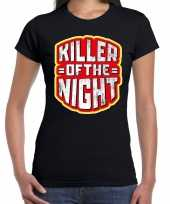Halloween killer of the night verkleed t shirt zwart voor dames