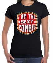 Halloween sexy zombie verkleed t-shirt zwart voor dames