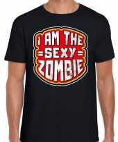 Halloween sexy zombie verkleed t-shirt zwart voor heren