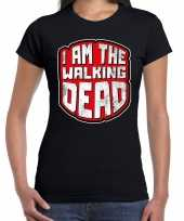 Halloween walking dead verkleed t-shirt zwart voor dames