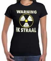 Halloween warning ik straal verkleed t-shirt zwart voor dames
